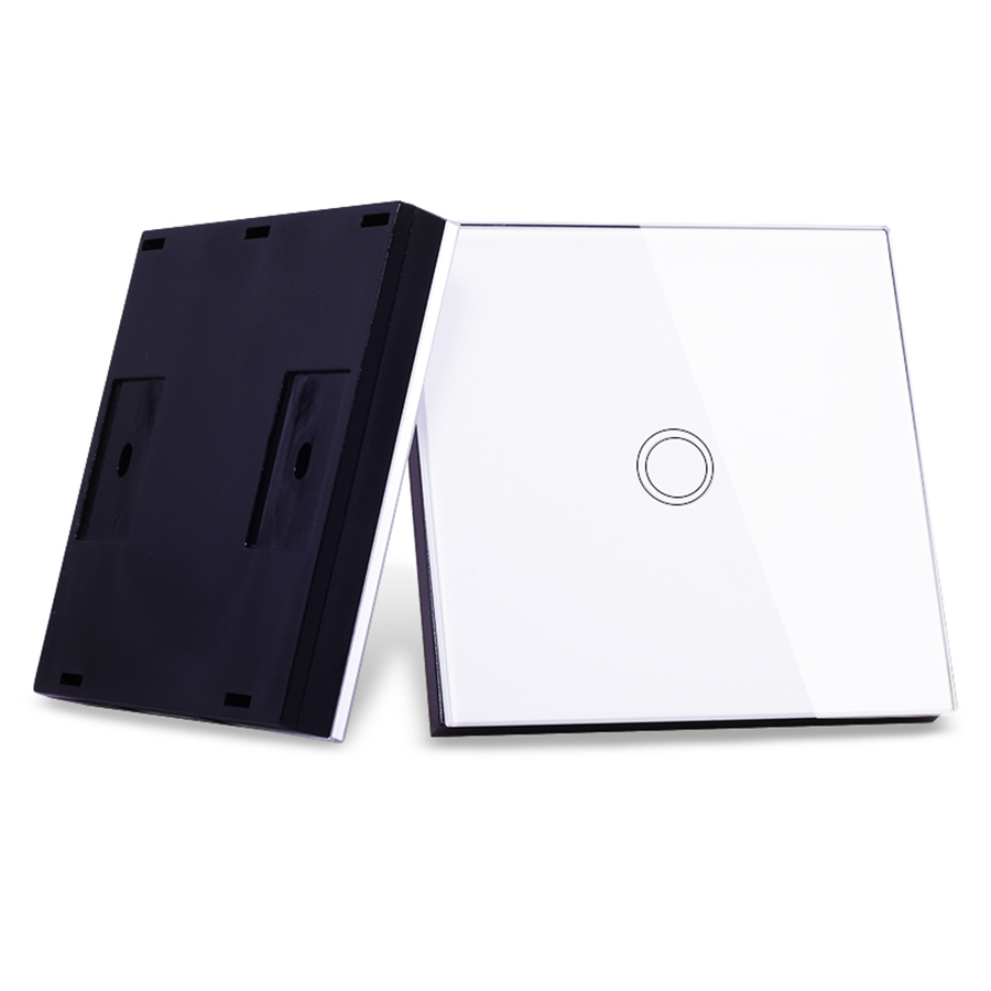 Vhome EU / UK RF 433mhz wireless remote control glass panel, 1 gang wall lamp remote transmitter, 220V touch switch vhome eu uk touch switch 3gang wall light ac170 240v wall stickers rf433mhz crystal glass panel remote control transmitter