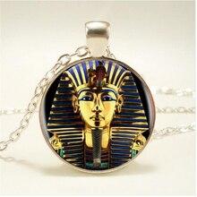 King Tut Logo Pendant Necklace Tutankhamun Golden King Art Handmade Resin Vintage Necklace Egyptian Jewelry Women Gift HZ1