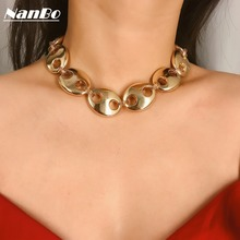Initial Gold Choker Kolye Collier Femme Necklace Women Men Silver Chain Statement Necklaces Jewelry Bijoux Brincos 2019 ZA new цена и фото