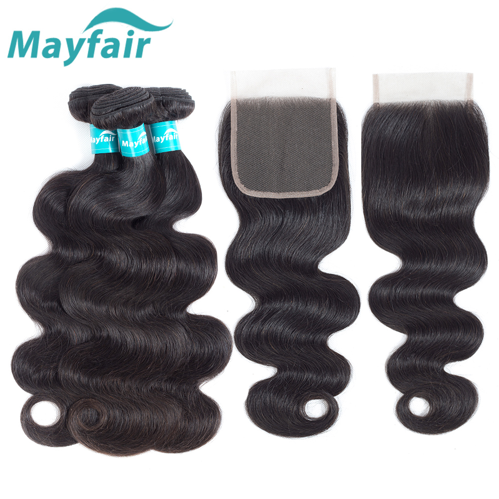 Brazilian Hair Weave 3 Bundles With Closure Remy Body Wave With Closure 4 Pcs/Lot Human Hair Bundles With Closure Mayfair Hair