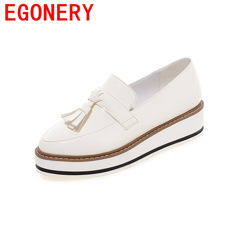 EGONERY comfortable spats patent leather round toe tassel slip-on med heels wedges pumps breathable woman platform shoes 2017 shoes women med heels tassel slip on women pumps solid round toe high quality loafers preppy style lady casual shoes 17