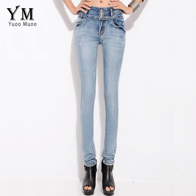 YuooMuoo Women Full Length Long Elastic High Waist Jeans Vintage Skinny Stretch Pencil Pants 3 Button Fly Denim Trousers 2017 new jeans women spring pants high waist thin slim elastic waist pencil pants fashion denim trousers 3 color plus size