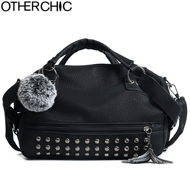 5c11fb6f33e2 OTHERCHIC 2018 Faux Leather Tassel Rivet Bags Clemence Women Brand Handbags  Quality Tote Women Shoulder Messenger Bags 8N02-01
