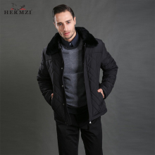 HERMZI 2019 Winter Jacket Men Cotton Padded Thick Warm Coat Black Rex Rabbit Fur Russian Size