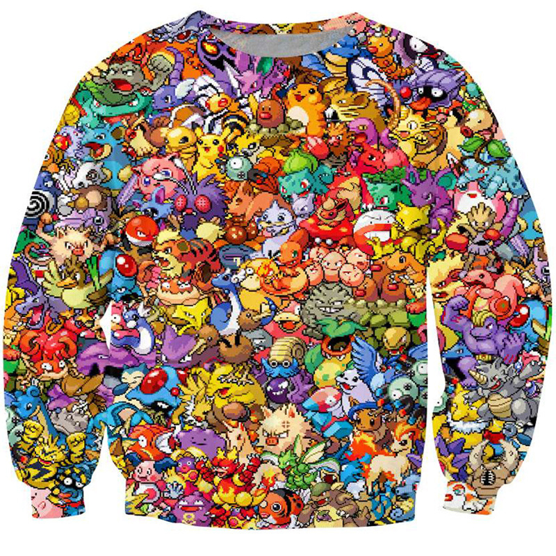 PLstar Cosmos 2017 New 3d Hoodies Pokemon Crewneck Sweatshirt Women Men 90s video game and anime Sweats jumper Fashion clothes