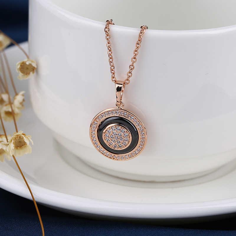 נקבת בציר 585 רוז זהב מעגל תליון שרשראות לנשים אופנה בריא קרמיקה הצהרת שרשרת אלגנטית תכשיטי מתנה