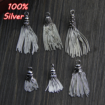 925 Sterling Silver Color DIY Tassel Earring Pendant Fashion Vintage Charms Accessories DIY Bracelet Necklace For Jewelry Making lotus fun moment real 925 sterling silver designer fashion jewelry fashion love heart tassel pendant without necklace for women