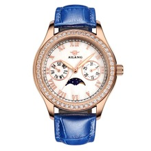 New Ladies Hollow Automatic Mechanical Watches Luxury Tourbillon Leather Womens Dress Watch Casual Wristwatches Relogio Feminino