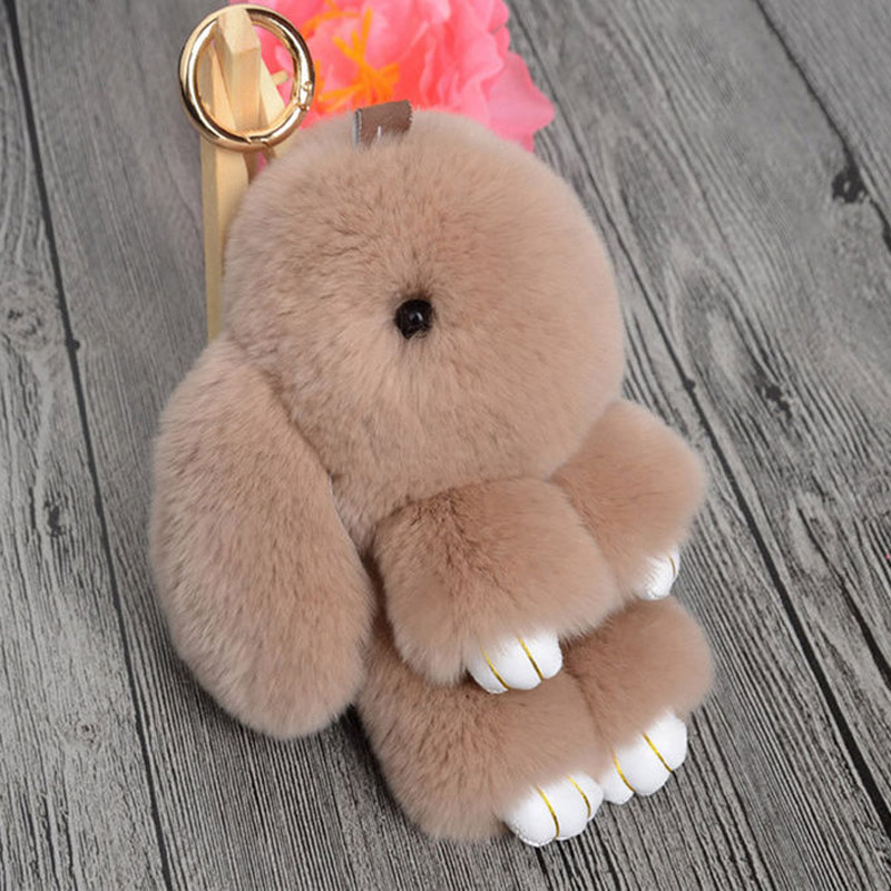 Fashion Real Rabbit Fur 2017 Key Chain Bunny Rex Rabbit Fur Bag Handbag Keychain Pom Doll Ball Key Chain Ring Pendant kids gift ...