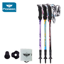 Pioneer hiking walking stick Ultra-light Carbon Fiber Hiking Alpenstock Climbing Camping Trekking matraque telescopic canes Pole