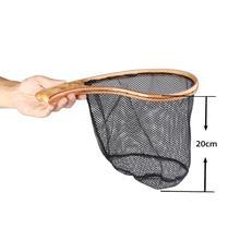 Buy HobbyLane Fly Fishing Landing Net Burl Wooden Handle Net Rubber Coat Net Capture and Release Flying Net Outdoor Fishing Tools directly from merchant!