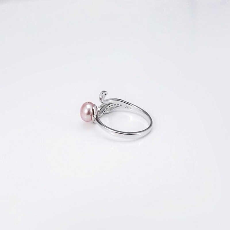 [MeiBaPJ] Простые Модные 925 пробы Серебряное кольцо с лебедем натуральное пресноводное жемчужное кольцо для Для женщин изысканное очарование Подарочная коробка для ювелирных изделий