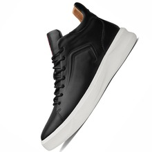 New Italy Designer Artificial Leather Men Ankle Shoes Autumn Winter Warm High-top Stamping Pattern Lace-up Man Black Punk Shoe