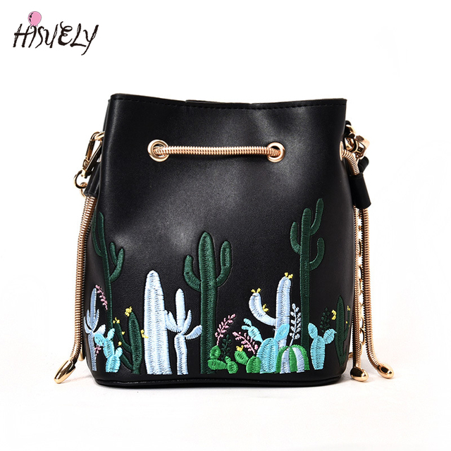 602b95245959 2018 Chain Cute Cactus Bucket Bag Leather Embroidery Shoulder Bag Women  Floral Mini Crossbody Purse Handbag Black Mujer Daily