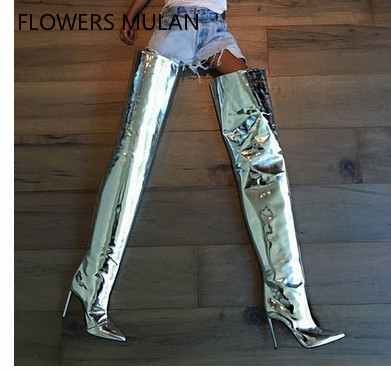 Mirror Patent Leather Super High Thin Heels Lady Boots Over Knee Pointed Toe Elegant Silver Model T Fashion Show Shoes GirlMirror Patent Leather Super High Thin Heels Lady Boots Over Knee Pointed Toe Elegant Silver Model T Fashion Show Shoes Girl