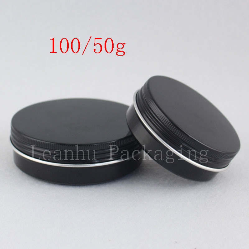 50g 100g Black Aluminum Jars Screw Lid Empty Cosmetics Cream Container Ointment Solid Perfume Metal Can