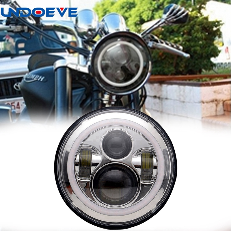 Undoeve For Harley DRL with white Halo Angel Eyes H4 7 inch Round Motorcycle LED Headlight 2pcs 2017 new design 7 inch 40w motorcycle led auto angel eyes led headlight bulb with high quality