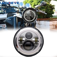 Undoeve For Harley DRL With White Halo Angel Eyes H4 7 Inch Round Motorcycle LED Headlight