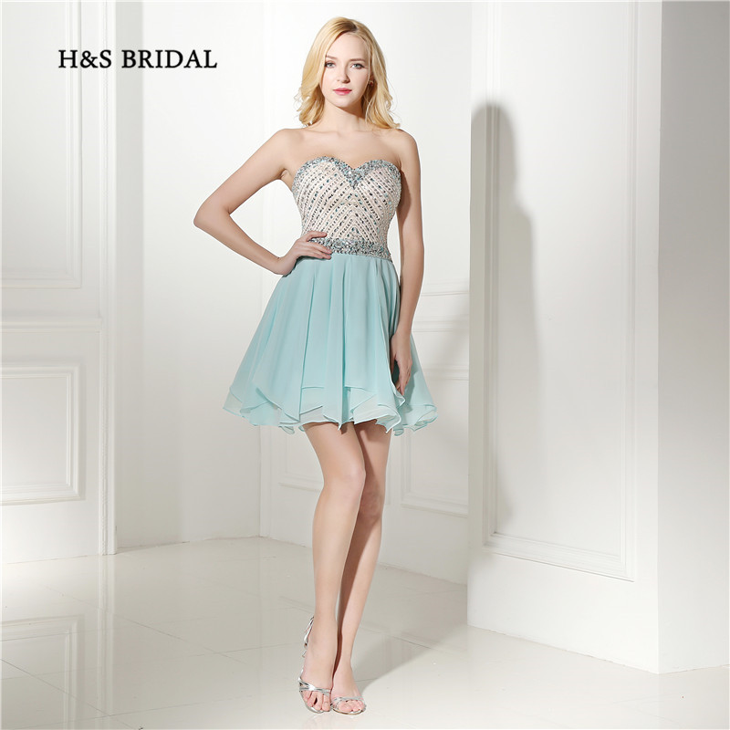 H&S Bridal Sky Blue Sequins Beaded Short Prom Party Dresses Chiffon Mini Cocktail Dresses Girls Homecoming Dresses