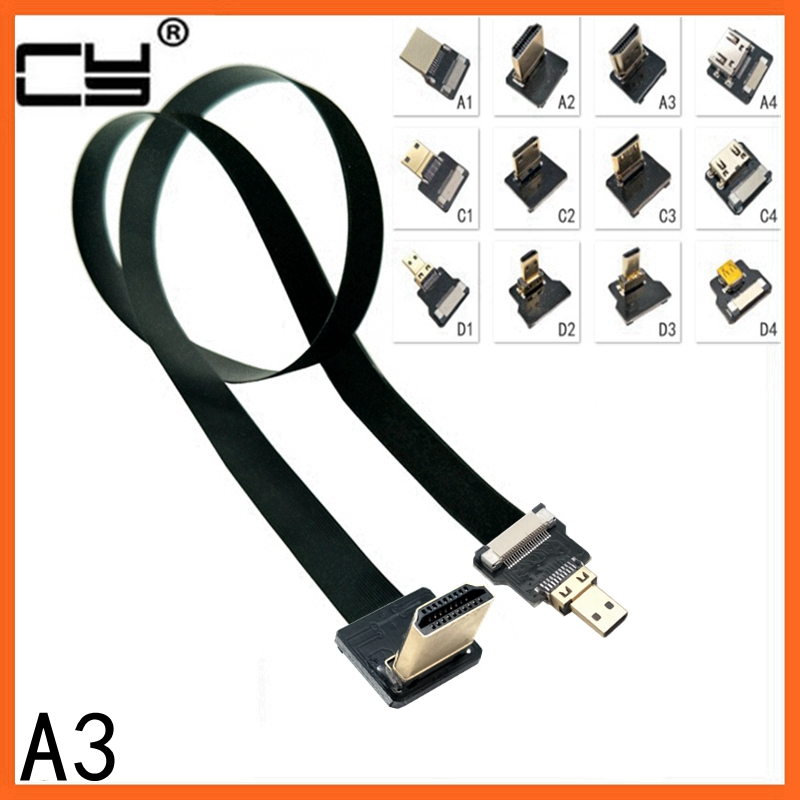 A3 FPV Micro Mini 90 Degree Adapter 5cm-80cm FPC Ribbon Flat HDMI Cable Pitch 20pin