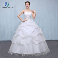 Hotest Ivory White/Red Cheap Ball Gown Dress Strapless Wedding Dress Lace Up/Zipper Princess Pregnant Maternity DL2080 Customize