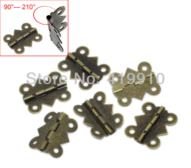 Free Shipping-500pcs Door Butt Hinges(rotated from 90 degrees to 210 degrees) Antique Bronze 4 Holes 20mm x 17mm, J1251*10 цена