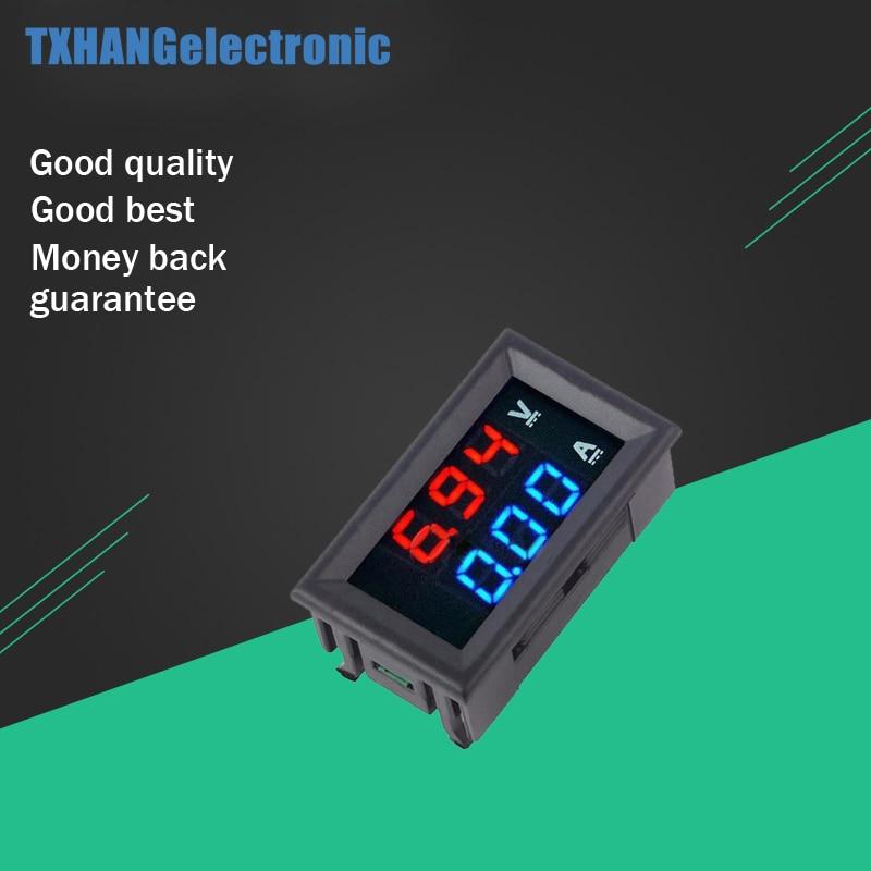 """DC 100 В 0-100 В 10A цифровой вольтметр Амперметр Двойной Дисплей Напряжение детектор измеритель тока Панель Amp Вольт калибр 0.28 """"красные, синие све..."""