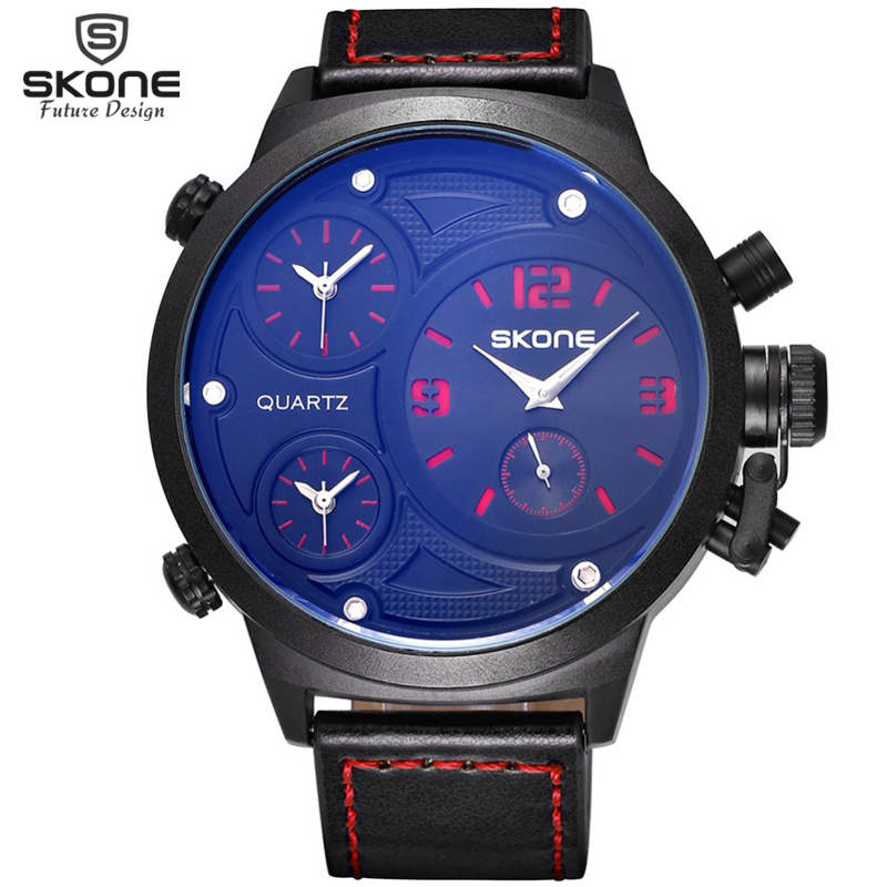 SKONE Big Round Face 3 Time Zone Analog Quartz PU Leather Watches Men Fashion Casual Sports Army Military Wrist Watch 2016 New weide new men quartz casual watch army military sports watch waterproof multiple time zone alarm men watches alarm clock camping