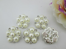 (BT46 27mm)10pcs Beautiful Silver Alloy Pearl Rhinestone Button With Loop For Craft and Hair Accessory(China)