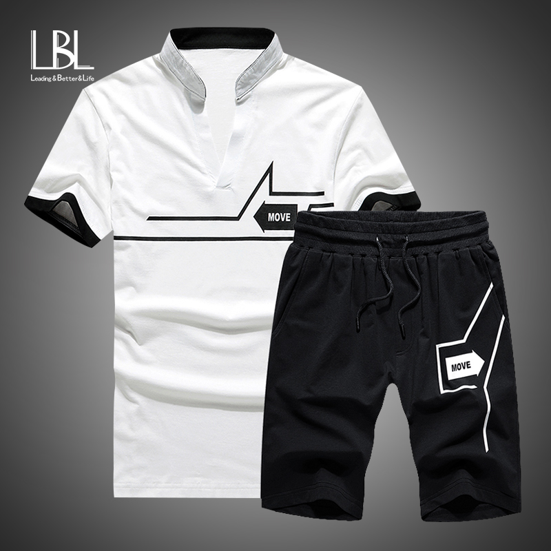 Men Stand Collar TShirt+Shorts Sets New 2019 Summer Fashion Two Piece Brand Tracksuit Men Casual Mens Sportwear Short Track Suit
