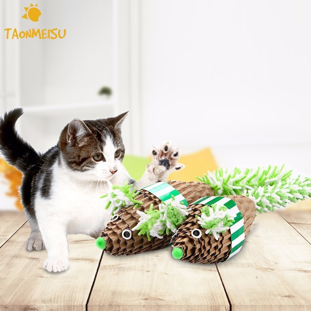 2Colors Funny Feather False Mouse Pet Cat Toys Cat Kitten Playing Toys Pet Cat Scratch Toy