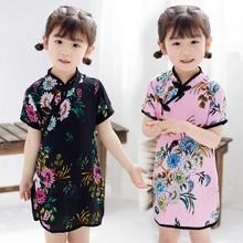 Baby Girl Chi-Pao Short Sleeve Dresses Fashion 2019 Chinese Children Clothes Girl's Tang Suit Cheongsam Outfits Floral Dress(China)