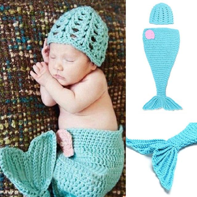 Baby Meerjungfrau Kostüm Kleidung Set Neugeborenen Fotografie