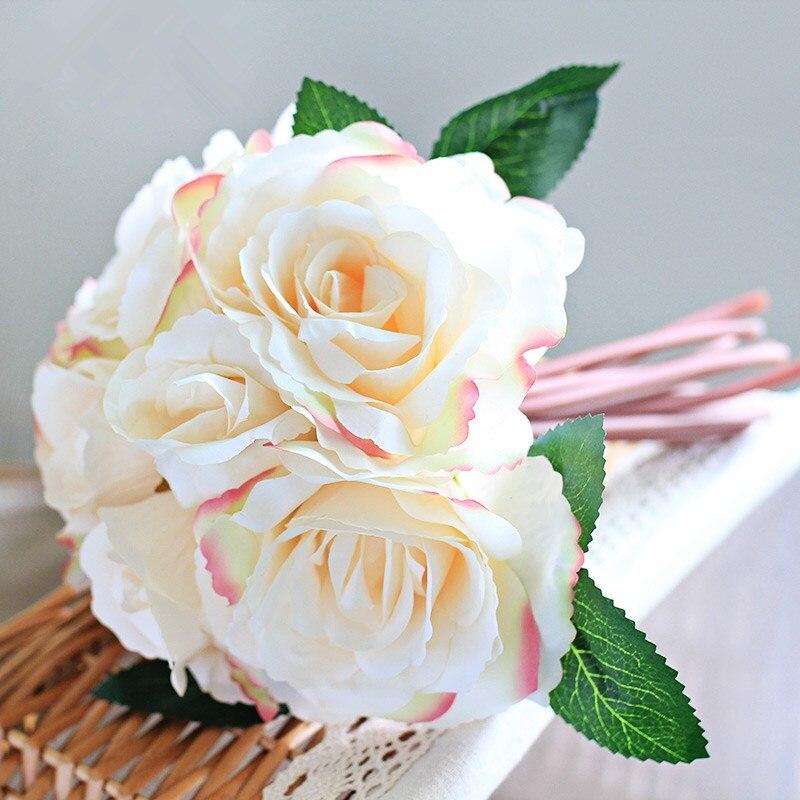 8 cabezas flores flor artificial de seda de flores rosa artificielle para casa decoración boda rosas de seda Peony bouquet Sandalias planas de verano para mujer, sandalias con diamantes de imitación de flores, zapatos de playa de vacaciones, calzado de mujer U23-74