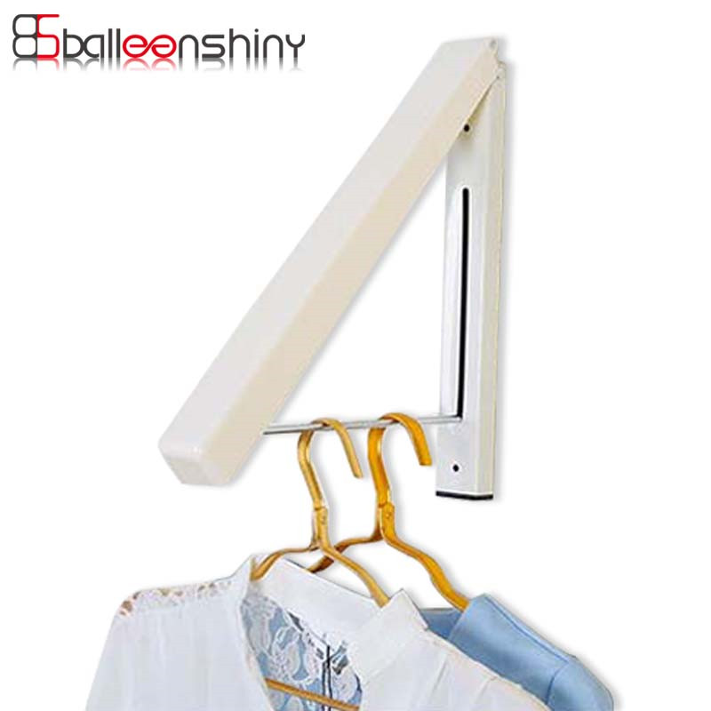 BalleenShiny Stainless Steel Wall Hanger Retractable Clothes Hanger Magic  Foldable Indoor Clothes Towel Drying Rack Organizer