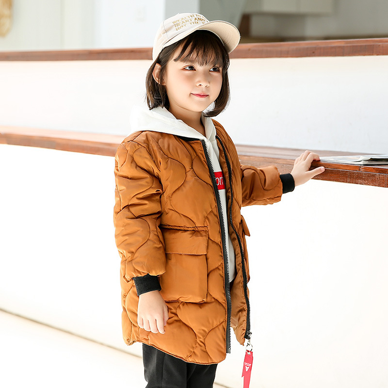 2018 autumn winter new children's down cotton padded boy girl children's clothing long coat casual jacket fashion new warm down цены онлайн
