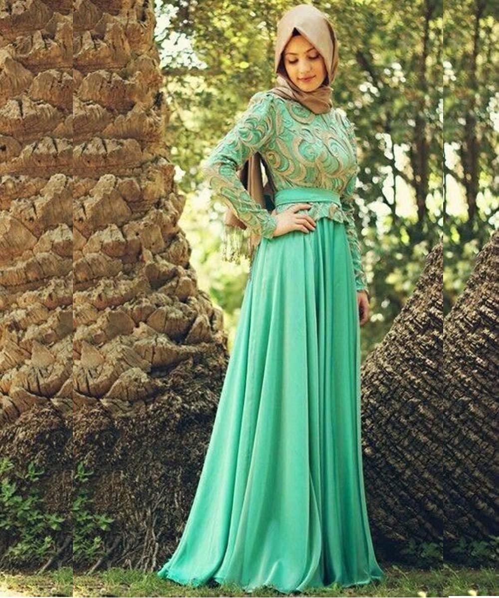 New Appliques Chiffon Long Sleeve Evening Dresses Lace Vestidos De Festa Abaya Kaftan Muslim Evening Dresses