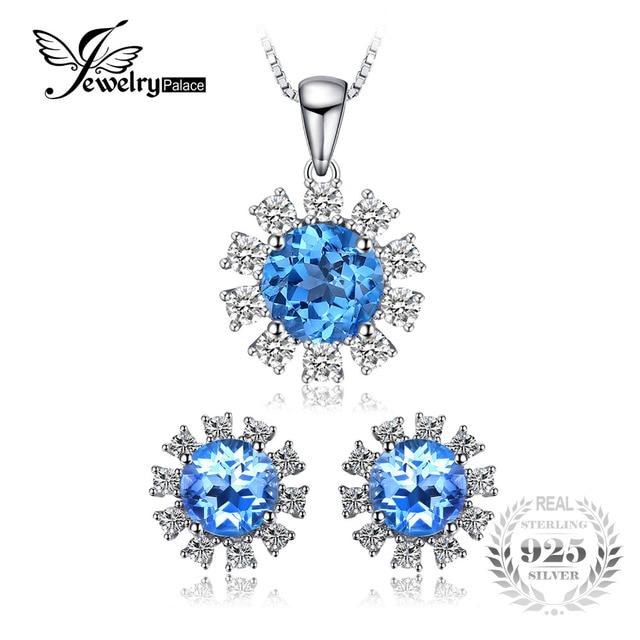 c614d6480 JewelryPalace 4.6ct Swis Blue Topaz Stud Earrings Halo Pendant Neckalce  Jewelry Sets 925 Sterling Silver