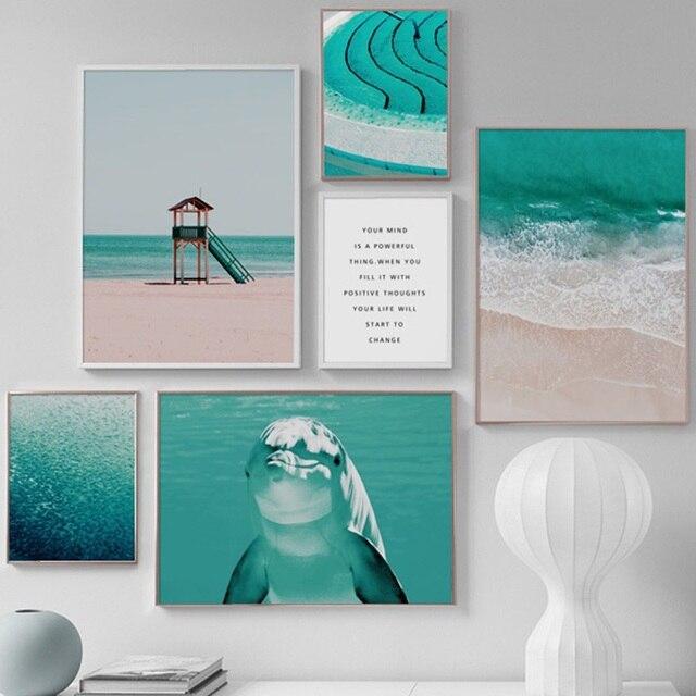 Море Дельфин пляж рыбы декоративные картины на холсте настенные картины для гостиной современные украшения дома плакаты на скандинавскую тему и принты