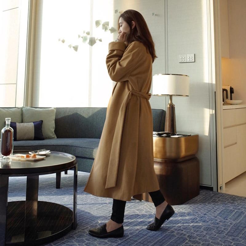 2019 New Arrive Brand Women Cashmere Coat Warm Autumn Winter Overcoat Belt Full Sleeve Coats Woman Casual Casaco Feminino GQ1650 - 2