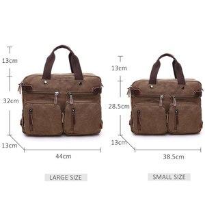 Image 4 - Scione Men Canvas Bag Leather Briefcase Travel Suitcase Messenger Shoulder Tote Back Handbag Large Casual Business Laptop Pocket