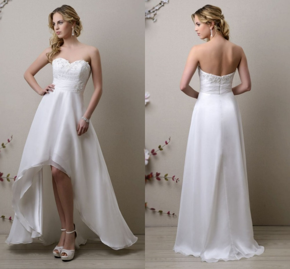 Elegant Sweetheart Neck Lace Appliqued Pleated Sash Hi Low