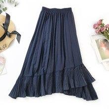 2019 Spring and Summer Irregular Fishtail Skirt Large Pleated Skirt High Waist Slim Ruffle Skirt A-Line  Ruffles недорого