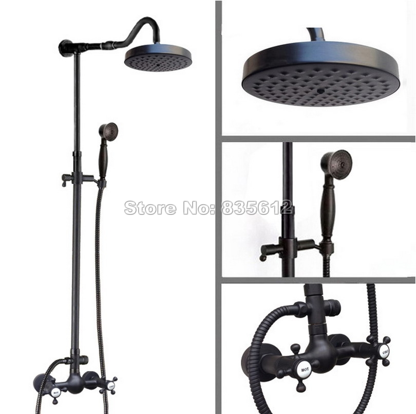 Wall Mount Black Oil Rubbed Bronze Bathroom Round Shower Head Rainfall Shower Faucet Set with Hand held Shower Mixer tap Wrs798