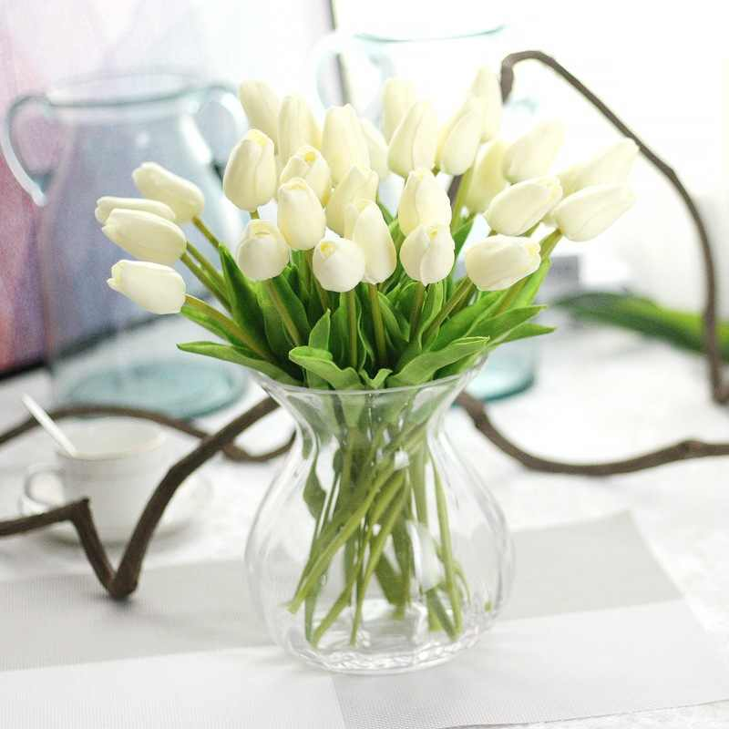 Mini PU Kualitas Tinggi Bunga Tulip Buatan Rumah Dekorasi Pernikahan Bunga Dekorasi Pernikahan Bunga Palsu Dekorasi Rumah