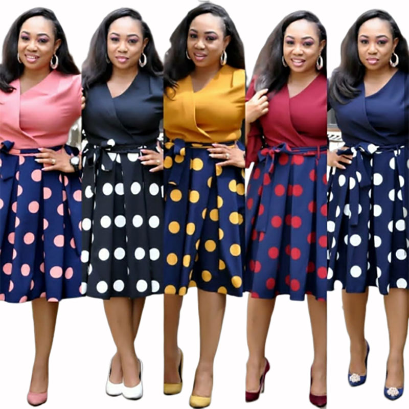 2019 New Summer Elegent Fashion Style African Women Printing Plus Size Polyester Dress L-3XL