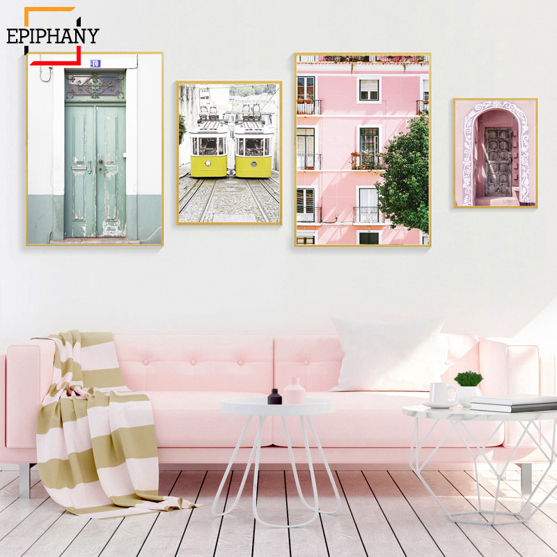 Painting Pink Posters Pastel House Trams Wall-Art Morocco Door Lisbon Prints Urban Art