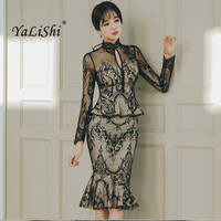 Office Long Sleeves Bandage Dress Bodycon Vintage Sexy Party Club Dresses Winter Womens 2017 Vestidos Black Lace Mermaid Dress