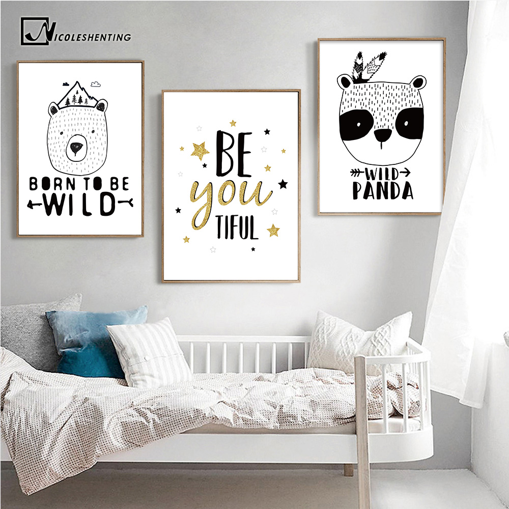 Motivational quotes posters prints bear panda poster black white canvas art painting nursery for Inspirational wall art for bedroom