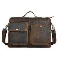 Brand 12' Business Handbag A4 Briefcase Genuine Leather Men's Cross Body Shoulder Bag Male Messenger Bags Cowhide Handle Pack